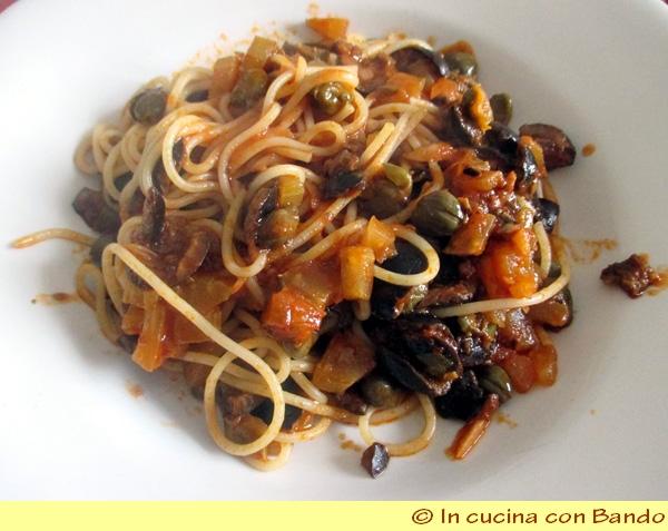 spaghetti con caponata