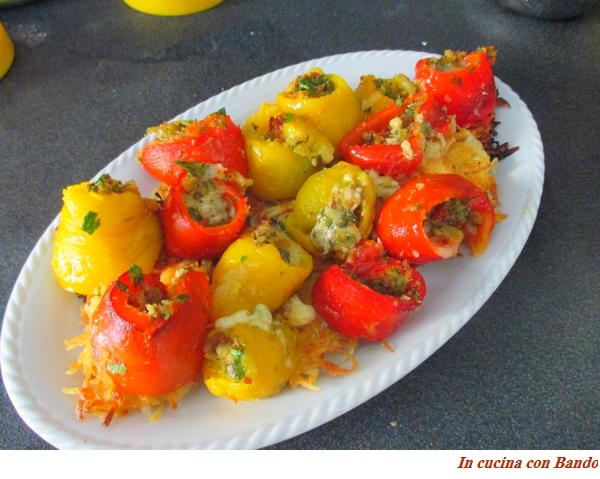 involtini di peperoni sul rosti di patate